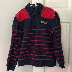 Vineyard Vines 1/4 Zip Sweatshirt Navy/Red Small